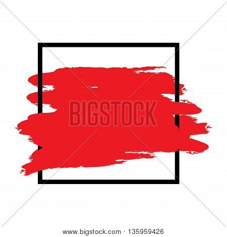 Contour simple black square frame brush strokes of red. Abstract background for text. Isolated frame. Vector design.