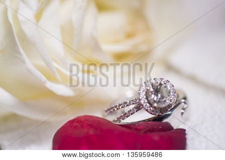 Beautiful close-up of wedding background with ring