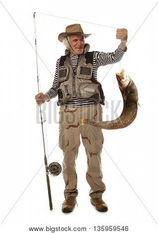 Senior fisherman with big river catfish isolated on white
