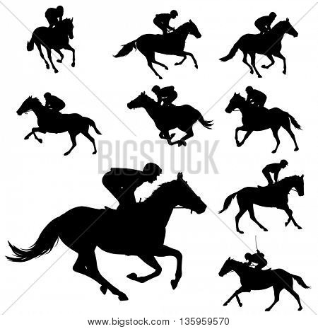 racing horses and jockeys silhouettes 2 - vector