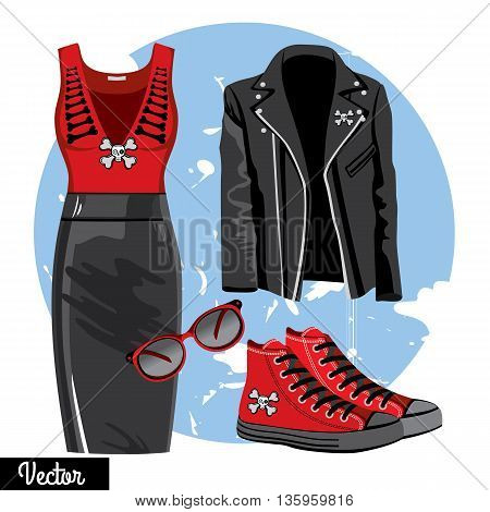 Illustration stylish and trendy clothing with skull. Leather skirt, singlet, sunglasses, sneakers. Gotic and casual fashion vector Illustration