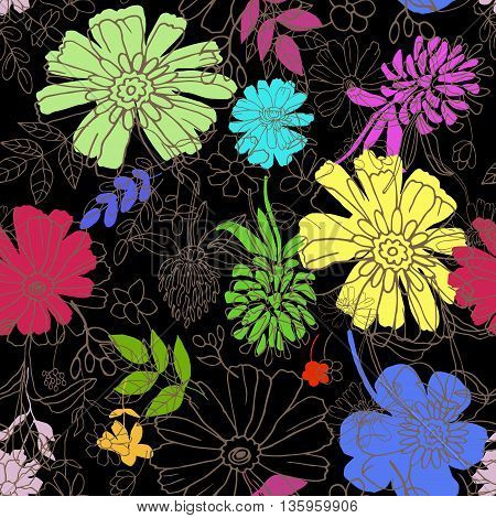 Abstract seamless pattern with hand drawing isolated flowers.