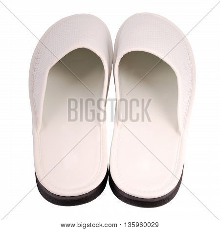 Men white slipper white background with soft shadow. Clipping path