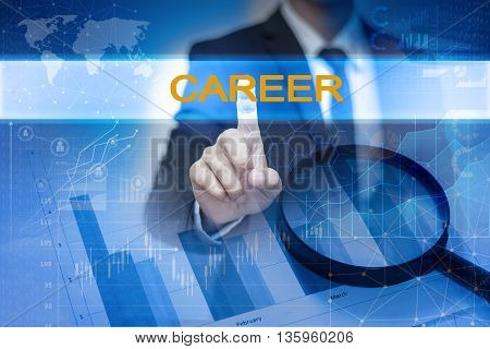 Businessman hand touching CAREER button on virtual screen
