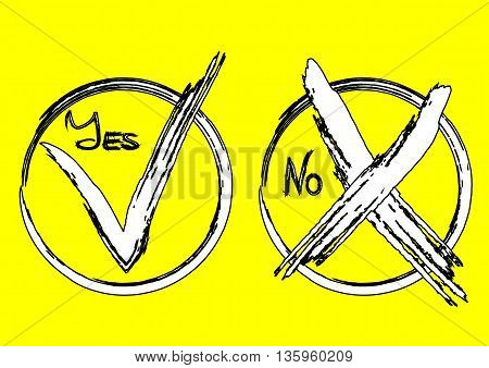 A check mark in the circle the word Yes. The symbol of the cross in the round frame the text No. White black stroke by brush stroke ragged. Colorful yellow background. Isolated.