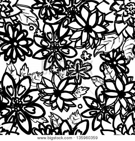 Floral seamless pattern. Hand drawn white flowers with black outlines.