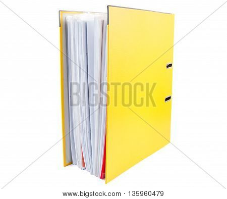 Yellow office folder full of papers isolated on white background with clipping path