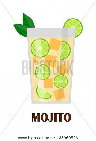 Mojito cocktail vector illustration.