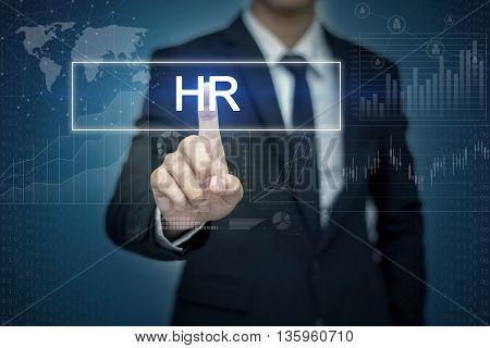 Businessman hand touching HR button on virtual screen