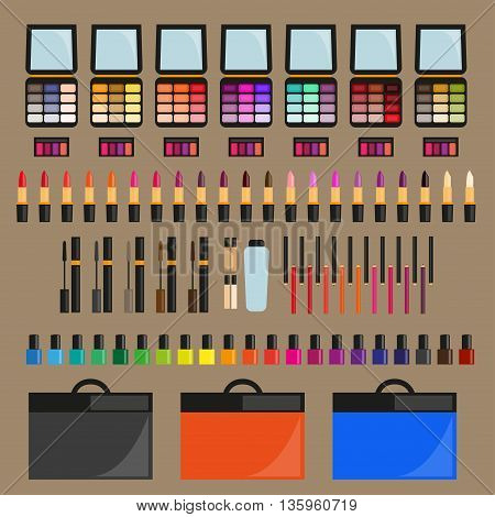 Set of decorative cosmetics Collection of makeup and cosmetics. Decorative cosmetics of different shades. Flat design