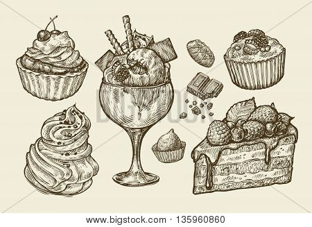 Vintage dessert, food. Hand-drawn sketch cake, pie, ice cream, marshmallow, sweets, muffin fruitcake chocolate Vector illustration