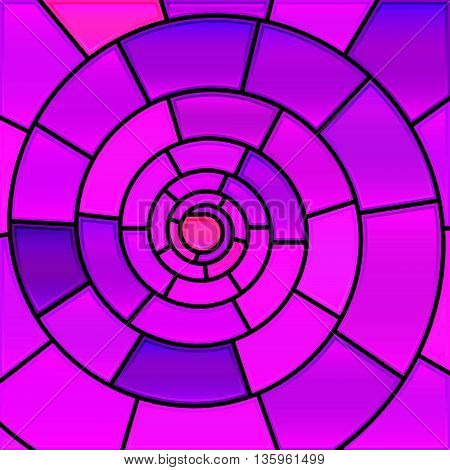 abstract vector stained-glass mosaic background- purple and violet spiral
