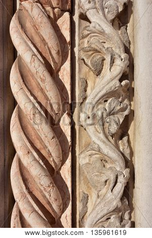 Detail of two spirals from St John and Paul basilica gothic portal, in Venice