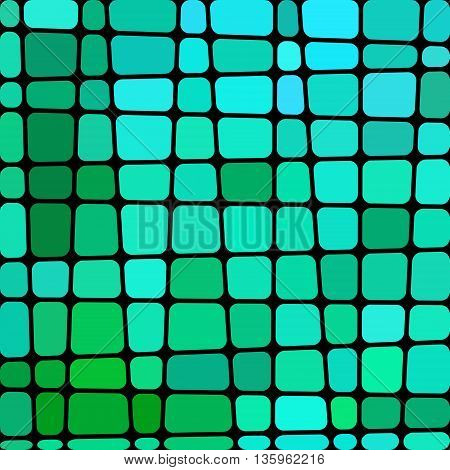 abstract vector stained-glass mosaic background - blue and green