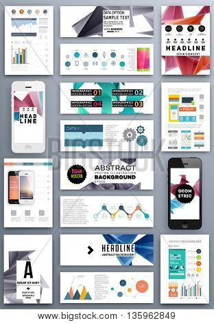 Set of Business Covers, Banners and Templates. Geometric Pattern Backgrounds.