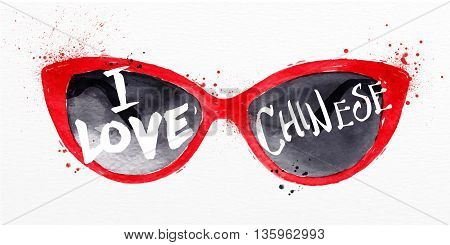 Poster red glasses lettering I love chinese drawing with drops and splash on watercolor paper background