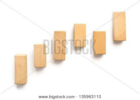 Wood Block Stacking As Step Stair.