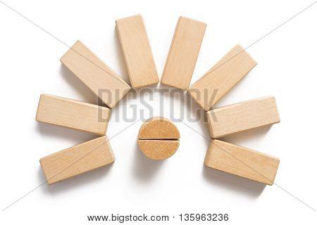 Wood Block Stacking As Circular Step .