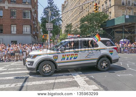 NEW YORK, USA, JUNE 26, 2016: 46th annual Pride March -The parade was the biggest one in history, with a record 32,000 marchers.