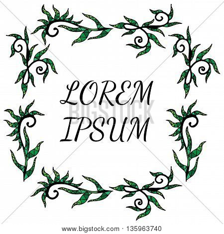 Frame with abstract krausens and leaves with place for text on a white background