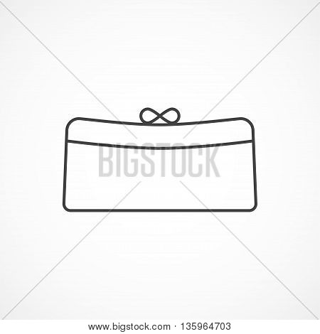 Women's clutch vector minimal isolated line icon.