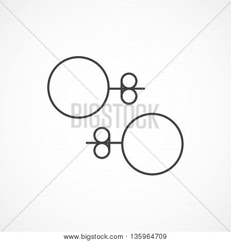 Stud earrings line icon. Vector line icon isolated on white background