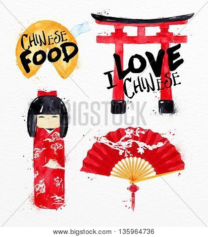 Chinese symbols fortune cookies kokeshi doll gate chinese fan drawing with drops and splash on watercolor paper background