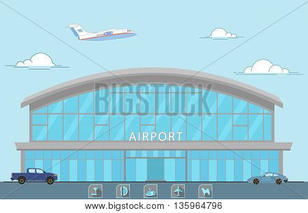 illustration of the airport, the plane takes off