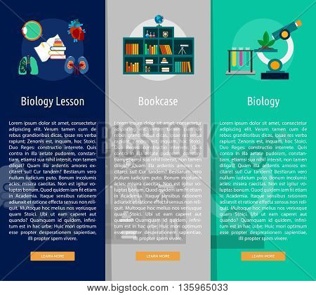 Education and Science Vertical Banner Concept | Set of great vertical banner flat design illustration concepts for education, science, analysis, knowledge, learning, event and much more.