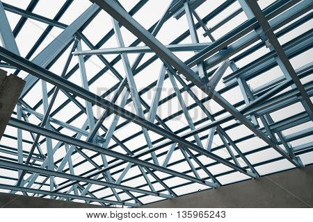 Structure of steel roof frame for construction.