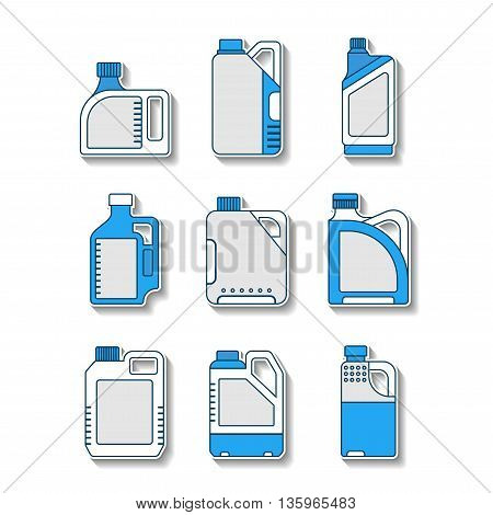 Blank plastic canisters, flat icons. Plastic packaging for machine oil, water and other liquids. Vector illustration