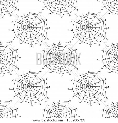 Seamless pattern with doodle spiderwebs. Vector illustration.