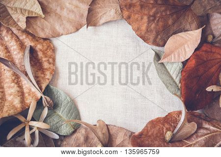 Autumn leaves copy space toning linen background