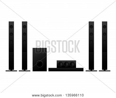 Home theater on white background vector illustration