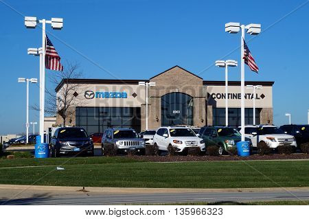 NAPERVILLE, ILLINOIS / UNITED STATES - NOVEMBER 3, 2015: One may purchase a Mazda vehicle at Continental Mazda in Naperville.
