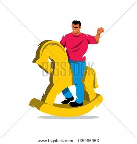 The wooden horse. Isolated on a white background