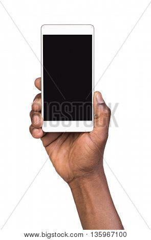 Hand holding mobile smart phone with blank screen. Isolated on white