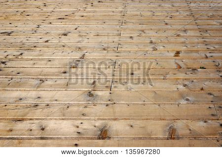 Timber flooring of foot pavement.