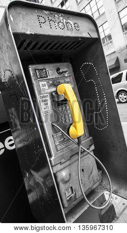 Payphone in downtown Manhattan New York City