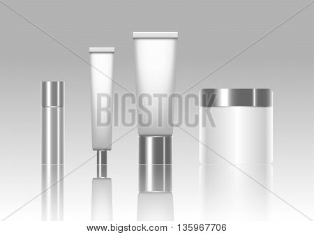 Blank cosmetic tubes isolated on background. Vector illustration