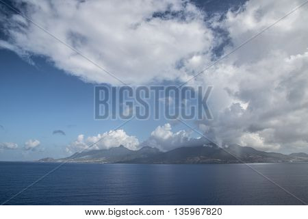 The St Kitts island and some clouds