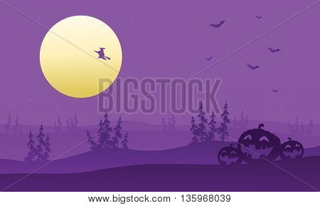 Purple backgrounds silhouette of witch and pumpkins illustration