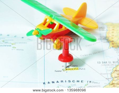 Madeira Island Map Airplane