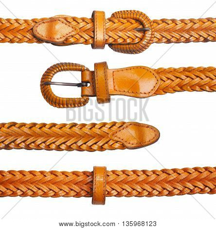 Close up Leather belt isolated on white background
