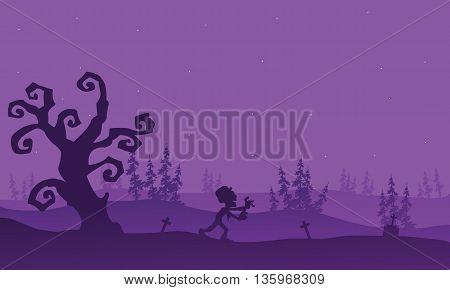 Zombie running halloween with purple backgrounds vector art