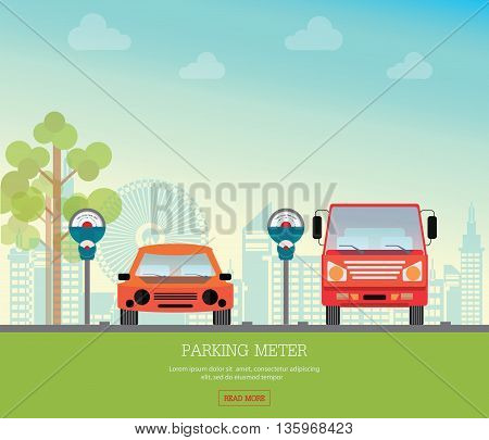 Car park with parking meter on city view background parking lot parking zone conceptual Vector Illustration.