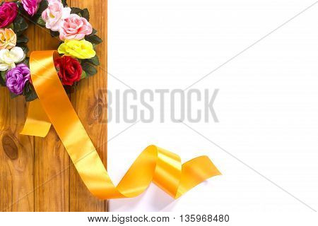 Traditional wreath with flowers and satin ribbon as a symbol of National Ukrainian folk costume