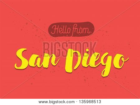 Hello from Pittsburgh, USA. Greeting card with typography, lettering design. Hand drawn brush calligraphy, text for t-shirt, post card, poster. Isolated vector illustration.