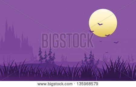 Full moon at Halloween bat vector illustration