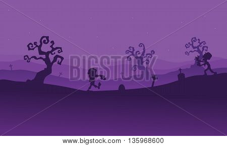 Silhouette of zombie walking in tomb with purple backgrounds
